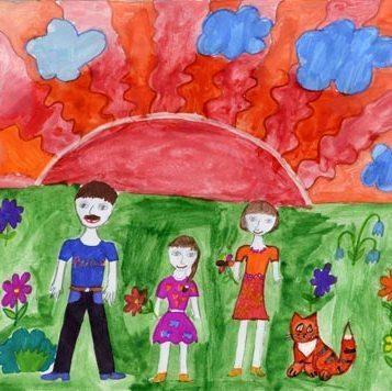 Детские рисунки моя семья